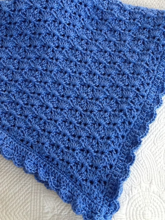 "Soft and Cozy Baby Afghan in ""Blue"", Blue Crochet Baby Afghan, Crochet Baby Blanket, Valentine Gift for Baby"