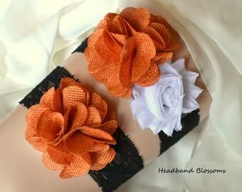 HALLOWEEN - Bridal Garter Set - Keepsake & Toss Wedding Garters - Orange Burlap Chiffon Flower Lace Garters - Black White - Autumn Rustic