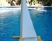 SAILBOAT WHITE, Toy Sailboat, Wood, Vinyl Sail, Sailboat, Wooden Boat, Catamaran, Pool Toy, Toy Boat