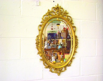 """Hollywood Regency Gold Mirror Ornate Double Framed Oval - Big 29"""" x 18"""" - Rococo"""