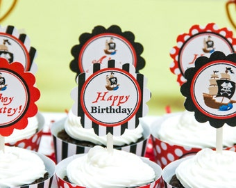 Pirate 2 Inch Party Circles, Instant Download, Cupcake Toppers, Favor Tags, Decorative Circles