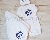 Monogrammed Infant Gown, Hat and Blanket Gift Set