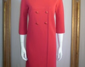 Vintage 1960's Butte Knit Pink Wool Dress - Size 8