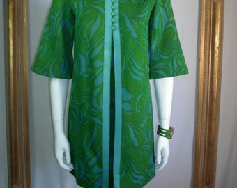 Vintage 1960's Green & Blue Print Mini Dress - Size Small