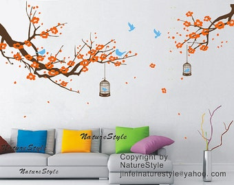 cherry blossom wall decals birds vinyl wall decals nursery wall decals-Plum Blossom with Flying Birds