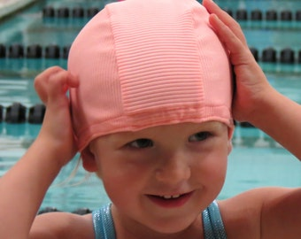 Lycra SWiM CaP - RIBBED PEACH - Sizes - Baby , Child , Adult , XL - Made from Spandex / Swimsuit Swimming Fabric -by Froggie's Swim Caps