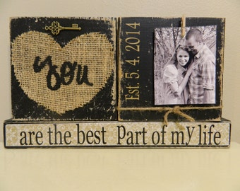 Wedding decoration gift black shabby chic burlap love quote personalized gift with photo black and white home decor wedding bride groom gift