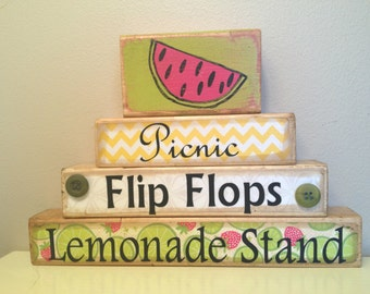 Summer wooden decoration with stenciled watermelon Picnic flip flops summer time lemonade stand vinyl summer decor july august june