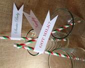 Straws Christmas Straws Printed Straw Flags Christmas Straw Flags Christmas Favors Christmas Tableware Christmas Decoration Christmas Decor