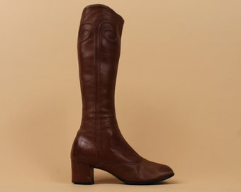 60s Vtg West German Soft LEATHER Caramel Taupe Knee High Boots / Tall Go Go MOD Psychedelic SWiRL ZiP Up Boot / 6 - 5.5 / Euro 36 - 35.5