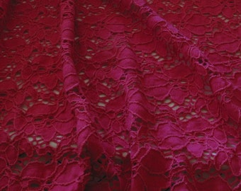 Fuchsia Lace Cotton Knit Fabric Floral Pattern Resort Wardrobe
