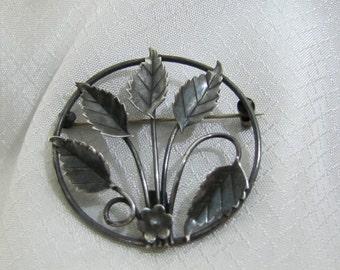Victorian Sterling Leaf Brooch, c1900