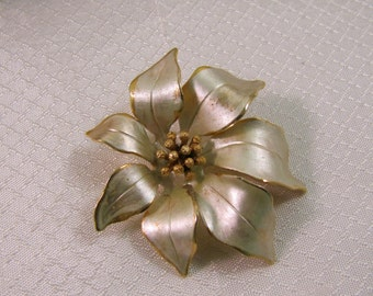 Vintage Ceritto Gold and Silver Poinsettia Brooch