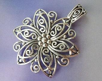 1 pendant, XXL flower, Oktoberfest, bavarian, antique silver, dirndl