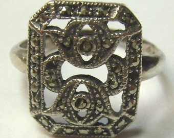 Sale...Vintage Sterling Marcasite Ring...Square Filigree Marcasite Ring....Wedding...Graduation....Birthday