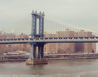 Manhattan Bridge Art Print NYC New York City Manhattan Photography Iconic Landmark Wall Art Industrial Home Decor