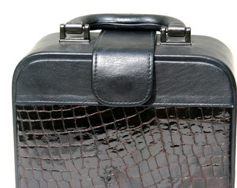 Leather portfolio-briefcase- brown patent leather-reptile texture- black leather-cardboard frame