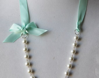 White Pearl and Mint Green Ribbon Bow Necklace