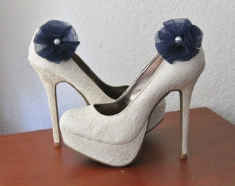 Navy Organza and Ivory Pearl Flower Shoe Clips - 1 Pair