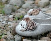 FELTED SLIPPERS Women slippers Crocheted flowers Women home shoes Natural felt Beige white brown Eco fashion Gift for her Wollen clogs