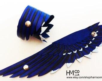 Blue Jay Leather Cuff