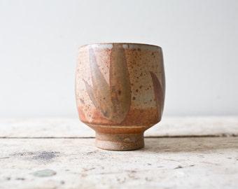 Vintage Ceramic Cup Vintage Pottery - Brown - Handmade Cup Vintage Planter Leaf Vase