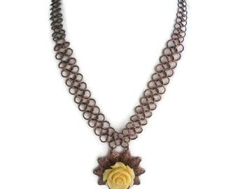 Copper chainmaille necklace with large ivory rose vintage