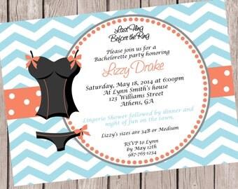 Lingerie and Bachelorette shower invite Lingerie Shower Invitation.  Bachelorette Party Invitation.
