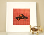 Modern Children's Paper Wall Art - Car Goes Vroom or Personalized Car Goes Vroom - 12 x 12 - Red and Navy or Custom Color