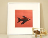 Modern Children's Paper Wall Art - Airplane up in the Air or Personalized -12 x 12 - Red and Navy or Custom Color