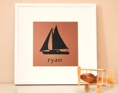 Modern Children's Paper Wall Art - Nautical Sailboat - 12 x 12 - Red and Navy or Custom Color