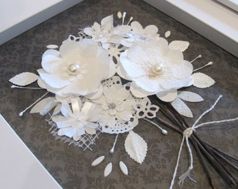 Framed paper flower bouquet