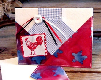 Patchwork Fabric Card, 1940s Vintage Bowtie Quilt Block Paper Stitched Red White Blue Blank Original Handmade Note Stationery itsyourcountry