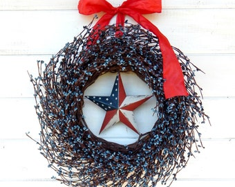 4th of July Wreath-Patriotic Wreath-Summer Wreath-July 4th Home Decor-Summer Door Decor- Patriotic Home Decor-Scented Wreath-Holiday Wreaths