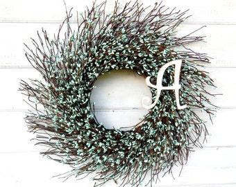 MONOGRAM Wreath-Twig Wreath-Teal Blue Wreath-Initial Wreath-Monogram Door Wreath- Personalized Wreath-Wall Hanging-Choose your Scent