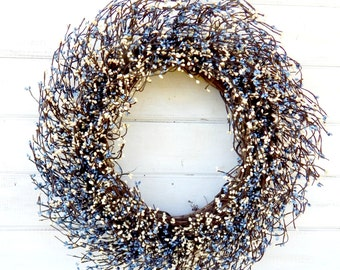 Fall Wreath-Winter Wreath-Door Wreath-Mantel Wreath-Large COUNTRY BLUE & WHITE Wreath-Wedding Wreath-Fireplace-Country Chic Home Decor-Gifts