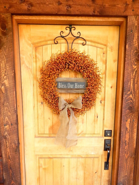 Autumn Door Decorations Orange Door : Fall wreath decor bless our home large pumpkin orange