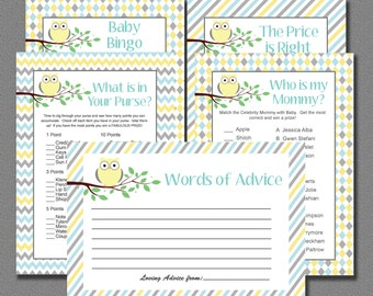 Baby Shower Games Yellow and Grey INSTANT DOWNLOAD Printable - DIY Baby Neutral Owl Decorations