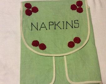 Vintage Handmade Hand Embroidered Napkin Storage 1940's 1950's