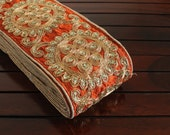 1 Yard Rust Fabric Trim-Sequins Embroidered Trim-Orange Silk Sari Border-Silk Fabric Ribbon Trim-Indian Trim-Art Quilt Trim By The Yard