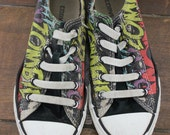 Zombie Comic Book Style Throwback Chuck Taylors or Converse Shoes / Sneakers - Kids Size 1