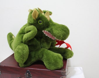 Vintage 1978 Tall Green Anva International Dragon Puppet or Stuffed Animal - Made in San Francisco