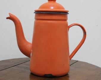 Vintage Orange Enamel Ware Tea Pot 70s Style Pot with Lid - Retro and Unique