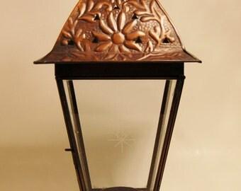 Lantern Pierced Coppertone Tin and Glass Tea Light