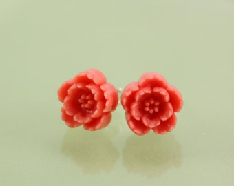 READY TO SHIP Pink Resin Cherry Blossom Post Earring with Sterling Silver Post and Ear Nut