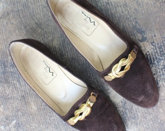 Loafers / Vintage Brown Suede Gold Infinity Knot  Flats /  Women's Size 8 Shoes