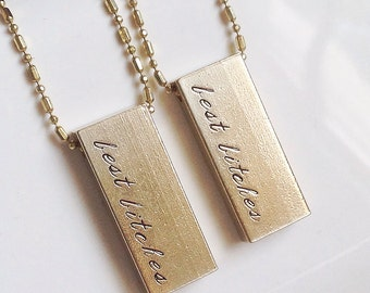Best Bitches Best Friends Necklace Set of Two Raw Brass Gold BFF Gift Jewelry
