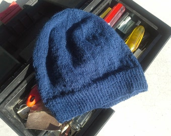 Dark Navy Blue Mens Alpaca Wool Beanie Light Hand Knit Winter Hiking Skiing Snowboarding Gent's Hat Cap Skully (One Size - Made to Order)