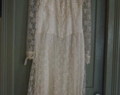 JESSICA McCLINTOCK Lace Wedding Dress Tea Length Ivory Large