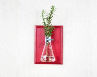 Wall Vase - Red Hanging Vase, Bud Vase - Gift Wrapped - Wall Sconce Vase - Science Chic, Glass Flask